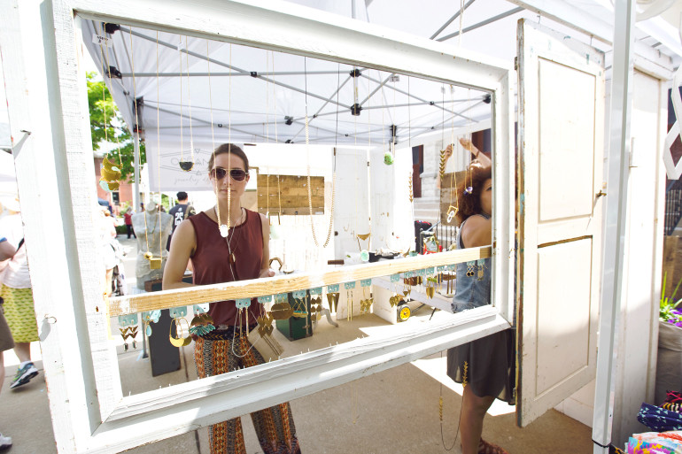 A customer browsing our outdoor booths. (image by Haley Neale of Little Robot Photography © 2015)